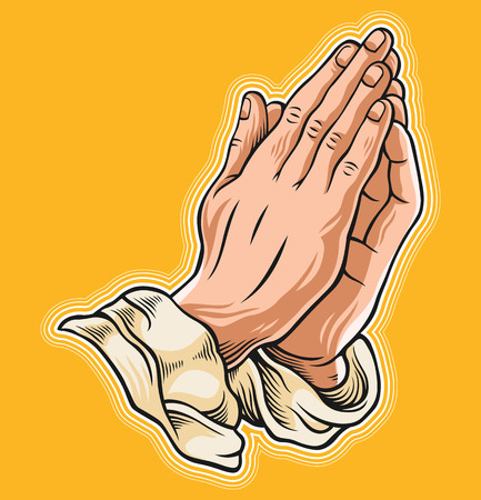 Prayer hand. Vector illustration Illustration