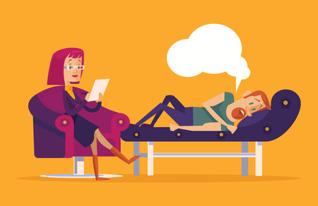 psychologist: Patient talking to psychologist. Vector flat illustration Illustration