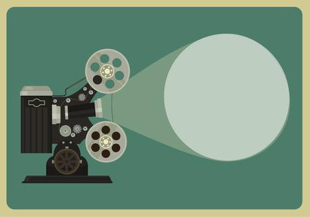 Retro movie projector. Vector flat illustration
