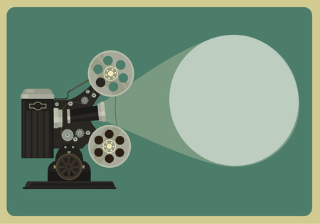 Retro movie projector. Vector flat illustration