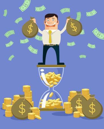riches: Rich man. Vector flat illustration