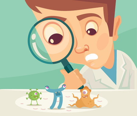 medical student: Scientist looking through magnifier. Vector flat illustration