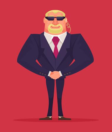seguridad en el trabajo: Control de la cara. Hombre de seguridad. ilustraci�n de dibujos animados de vectores