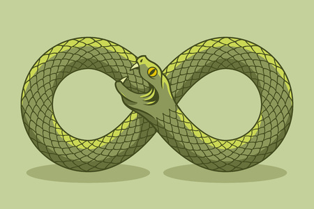 Snake biting its own tail. Magic symbol. Vector illustration