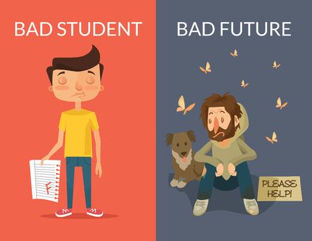 issue: Bad future. Vector flat illustration Illustration