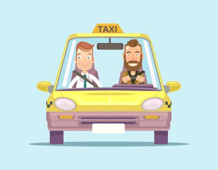 택시 자동차와 승객과 택시 드라이버. 벡터 평면 그림