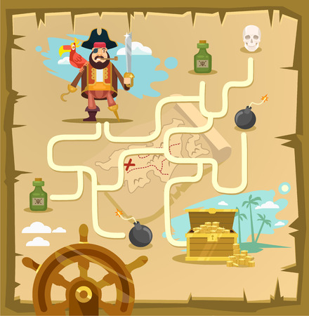 Pirate maze. Labyrinth game. Vector cartoon illustration Çizim