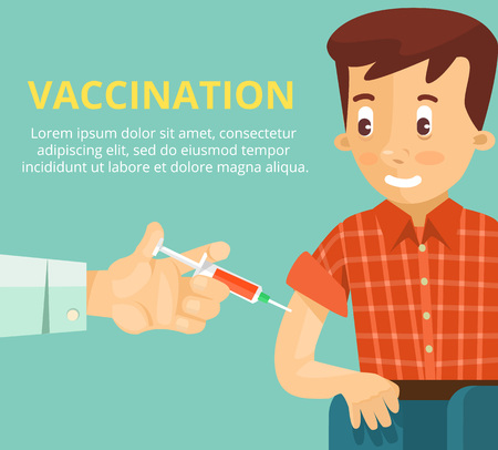 syringe injection: Vaccination concept poster. Vector flat illustration