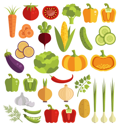 Vegetables vector flat icons set