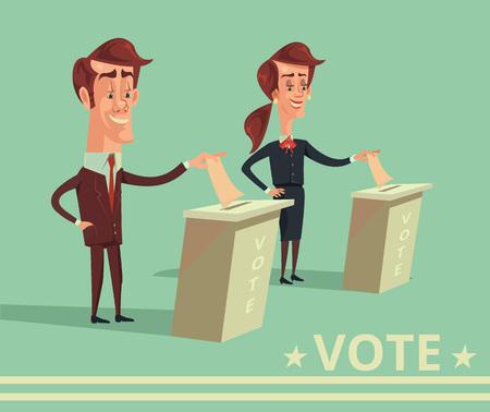 Les gens votent les candidats des différents partis. Vector cartoon illustration plat