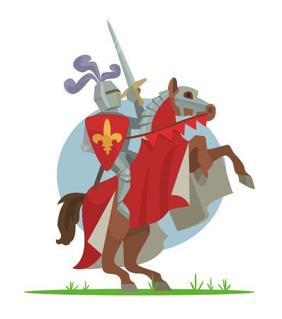crusader: Knight on horseback. Vector cartoon illustration