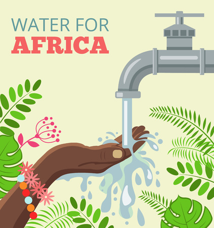 washing hands: Water for africa. Vector flat illustration
