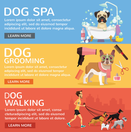 sitter: Dog service. Vector flat banners set Illustration