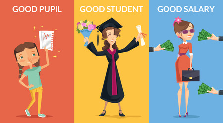 adolescence: Good future. Vector flat banners illustration set