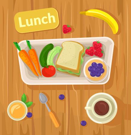 escuela infantil: almuerzo vector saludable. Vector ilustración plana