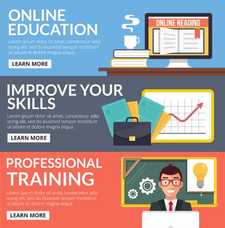 education: Online education flat banners set