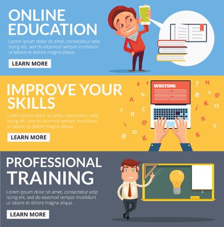 Online education flat cartoon banners set Illustration