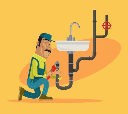 Plumber. Vector flat cartoon illustration Vector Illustration