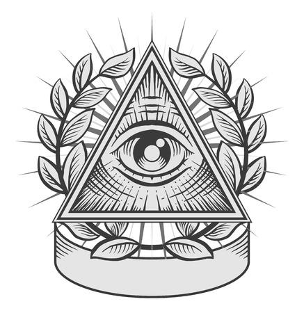 El ojo que todo lo ve. Ejemplo blanco y negro del vector