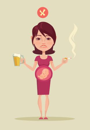 smoking woman: Pregnant smoking woman. Vector flat illustration