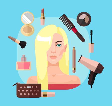 drier: Blonde woman in beauty salon. Vector flat illustration Illustration