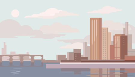 flats: Big city. Vector flat illustration