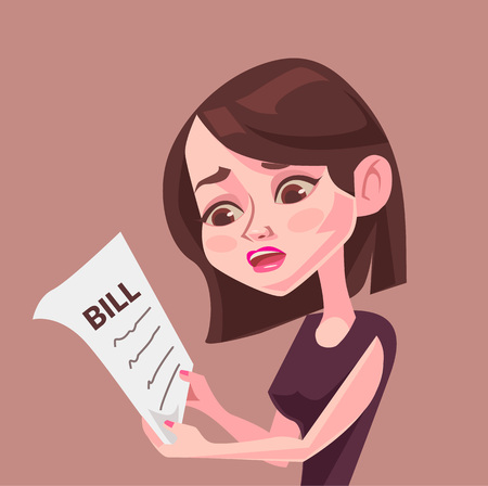 woman shock: Big bill. Vector flat illustration