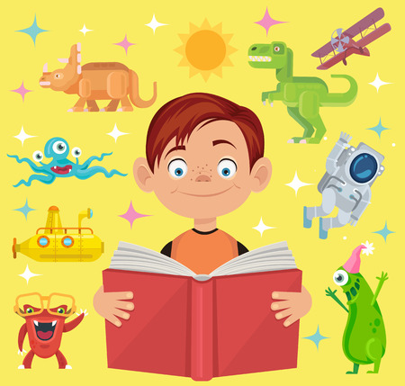 El muchacho lee el libro de cuento de hadas. Vector ilustración de dibujos animados plana