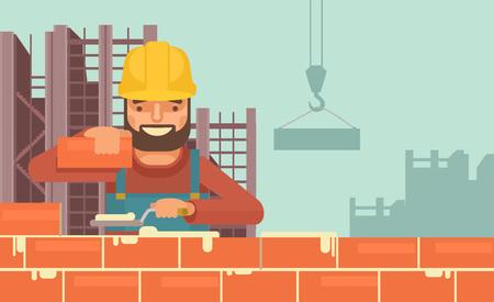 Construction worker flat illustration