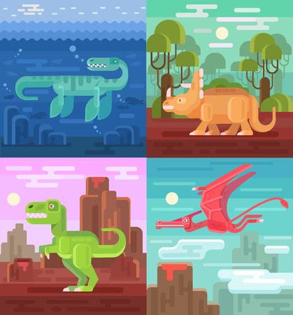dinosaurus: Dinosaurs set flat illustrations Illustration