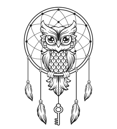 draw animal: Dream-catcher black and white owl. Illustration
