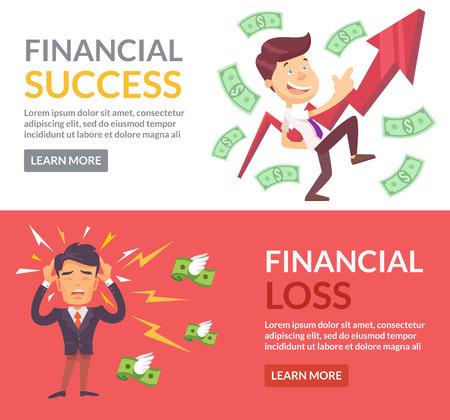 経済的な成功、財務上の損失のフラットの図  イラスト・ベクター素材