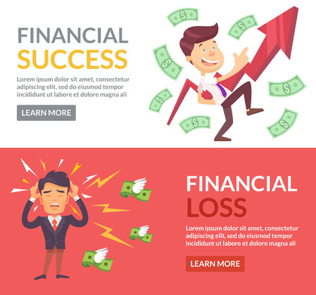 financial success: Financial success, financial loss flat illustration Illustration