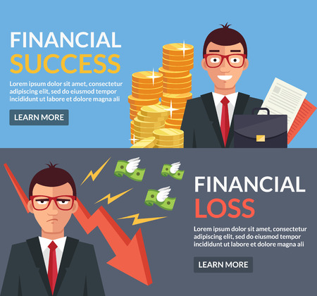 lost: Financial success, financial loss flat illustration Illustration