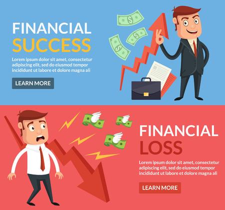 금융 성공, 재정 손실 만화 평면 그림 일러스트