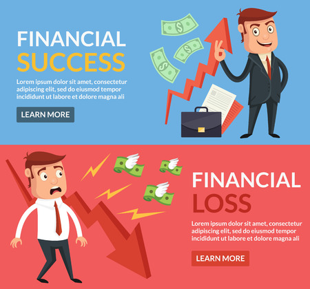 financial success: Financial success, financial loss cartoon flat illustration Illustration