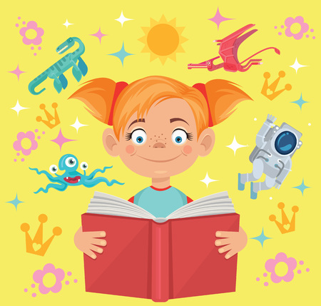 exciting: Girl reads fairy tale book flat cartoon illustration Illustration