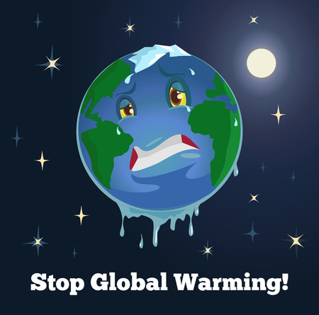 stop global warming: Stop global warming flat illustration Illustration