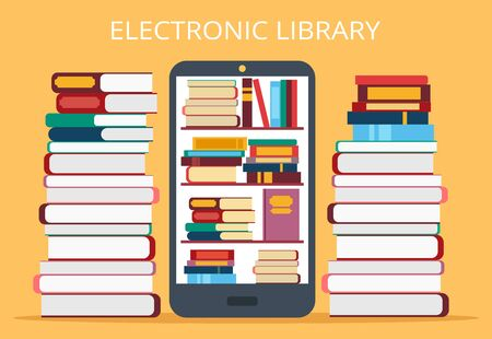 Online library in mobile phone. Vector flat illustration Stock Illustratie
