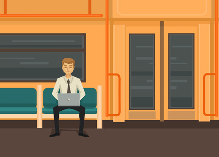 sub station: Man with computer in train. Vector flat illustration