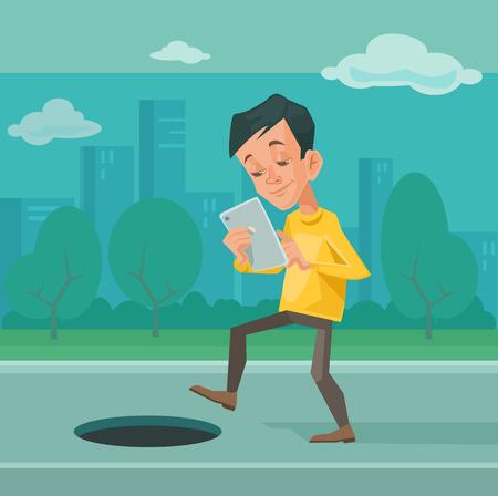 distract: Smartphone addiction. Vector flat illustration Illustration