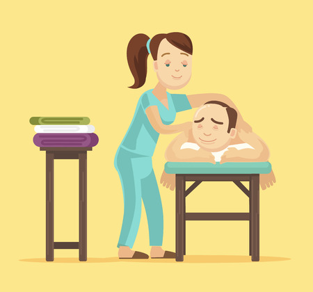 masseur: Spa massage flat illustration