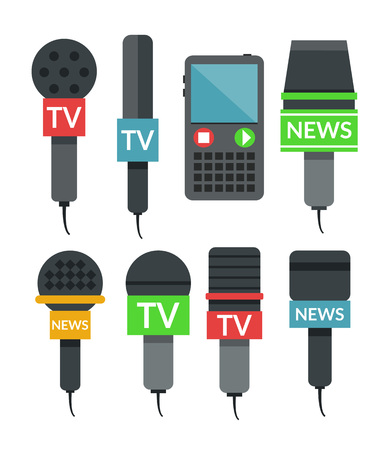 paparazzi: Microphones set flat illustration Illustration