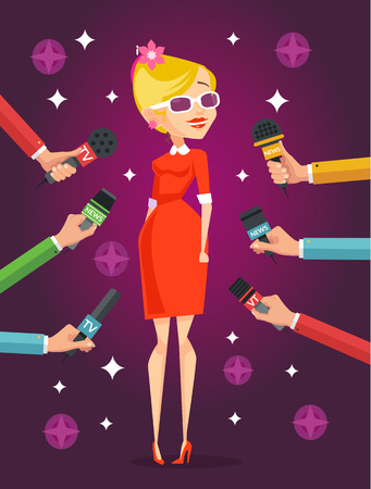 celebrity: Journalist interviews celebrity girl. Vector flat illustration