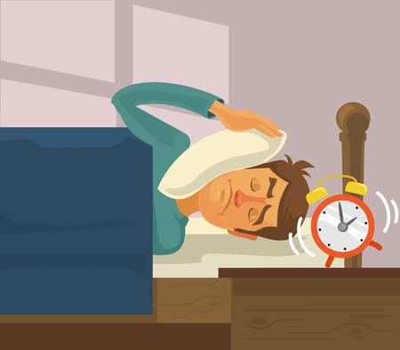 despertarse: reloj de alarma de la mañana. Vector ilustración plana Vectores