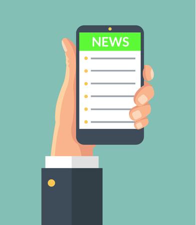 reading news: Online reading news. Vector flat illustration