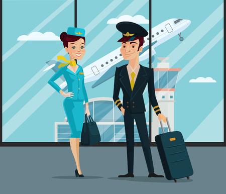 Pilot and stewardess. Vector cartoon illustration