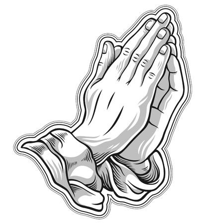 Zwart en wit gebed de hand. vector illustratie