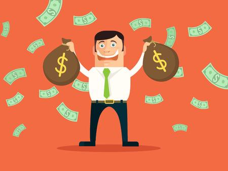 mucho dinero: Hombre de negocios rico. Vector ilustración plana