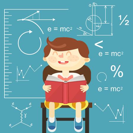 Children reading book. Vector flat illustration